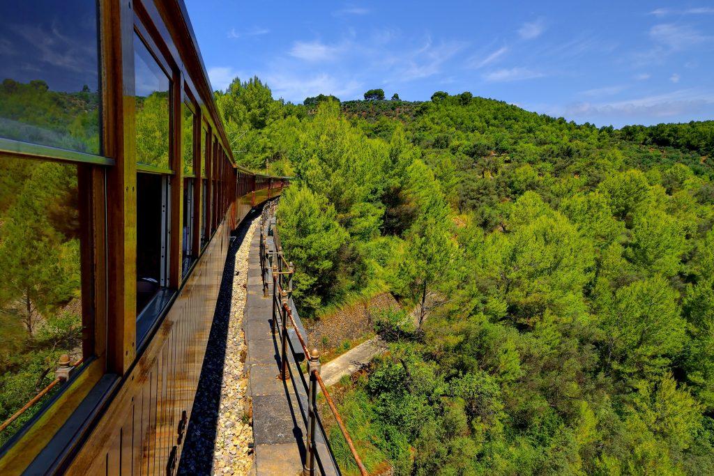 Palma to Soller train moving through the Mallorca countryside