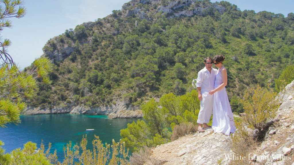 Ibiza wedding - Newly weds overlooking the sea